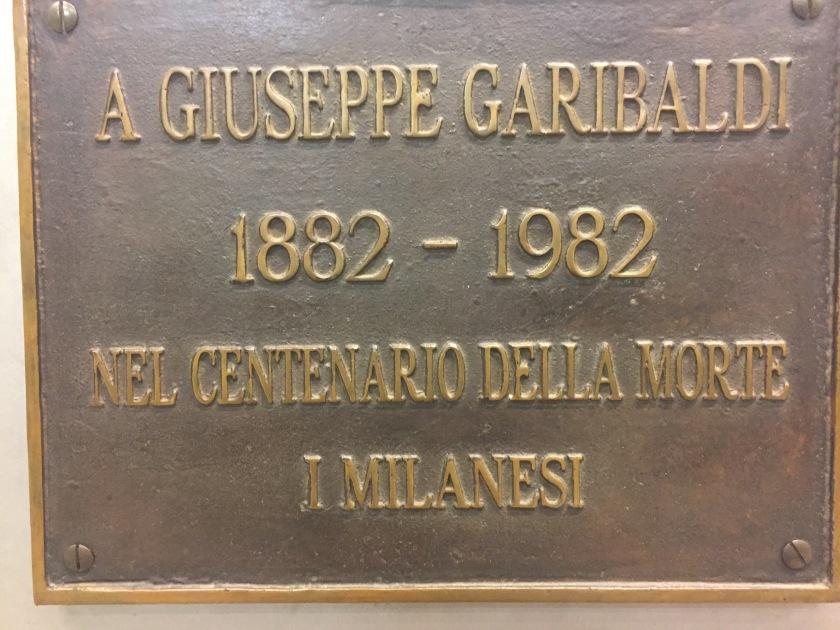 Giuseppe Garibaldi, Milano, 1882-1982